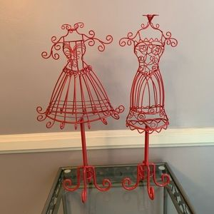 2 pink mannequin dress form jewelry stand holders